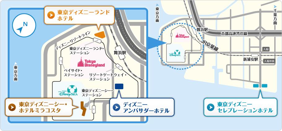 【地図】ディズニーホテル
